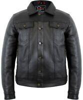 Herren Lederjacke im Jeansjacken Stil aus echtem Leder Rindsleder 90´er Jacke