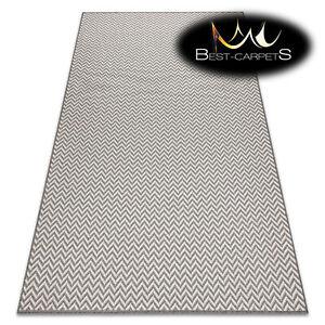 Amazing Modern Flat Woven SISAL RUG 'SISALO' Zigzag CREAM / TAUPE easy to clean