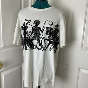 Zara Men's  Graphic Tee Size Large White T-Shirt Ancient Reborn Greek Roman