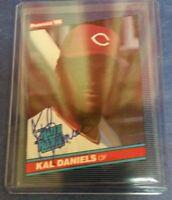 KAL DANIELS 1986 DONRUSS ( ROOKIE HAND SIGNED ) CARD #27 CINCINNATI REDS