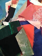 LOT Fancy Fabric Scraps Crazy Quilt Applique Doll Velveteen Satin BrocadeTaffeta