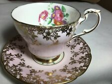 PARAGON BONE CHINA PEDESTAL CUP/ SAUCER.  ENGLAND.   DW  PINK/GOLD/FLOWERS