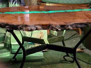 "Cherry Tree Burl Coffee Table W ""river"" inlaid W Agates."