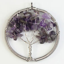 Natural Amethyst Crystal Reiki Chakra Chip Beads Tree of Life Healing Pendant