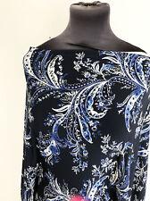 Fleur de Lis Illustrated Flora/Flower Print Stretch Jersey Dressmaking Fabric