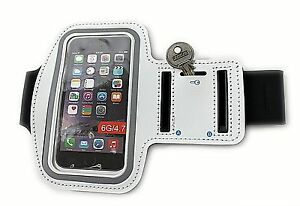 WHITE ARMBAND PHONE POUCH SPORTS GYM RUNNING JOGGING CYCLING FITNESS GIFT NEW