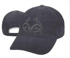 Realtree antlers logos on faded black casual deer hunting hat