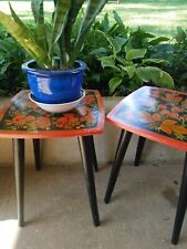 2 Mid Century Modern Russian Khokhloma Lacquer Tables Plant Stand Folk Art Ussr