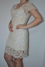$139 Boston Proper Elegant V-neck crochet cotton dress nude ivory beige size M