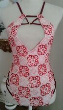 Mink Pink NWT Womens Small One Piece Swimsuit Red Pink White Mandala Laced Trim