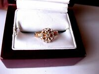ANTIQUE VICTORIAN 14K ROSE GOLD RING with  DIAMONDS,late 19c.