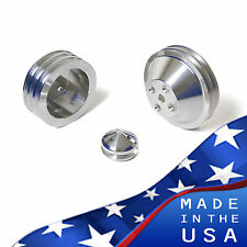 Billet Aluminum Pulley Kit Chevy Small Block V-Belt 350 LWP SBC AC Vintage A/C