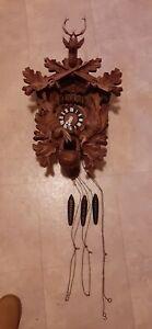 "Deer Head Thorens Switzerland Cuckoo Clock ""Works Great"""