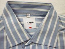 E7918 Olymp Luxor Businesshemd Kombimanschette 41 blau-grau, weiß gestreift