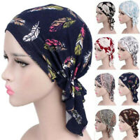 Women Muslim Turban Cancer Chemo Cap Stretch Wrap Beanie Head Scarf Cover FL