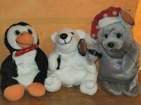 Lot of 3 Coca-Cola Christmas Bean Bag Plush Seal Polar Bear Penguin 1997 NEW NWT