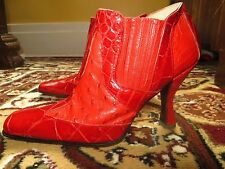 Mauri Italy Red Women's Alligator Crocodile Ostrich Ankle Boots Heel Shoes 7 B