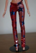 Clothes for Barbie Doll. Red/Silver Stars print Leggings for Dolls.