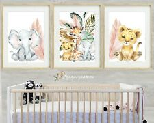 Safari tropical Nursery Wall Prints, Girls Nursery wall Prints,Safari Decor,