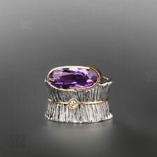Fashion Oval Amethyst 925 Silver Two Tone Ring Wedding Bride Jewelry Women Gifts