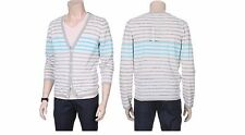 Chris Mens Casual Striped Pattern Button Front Y-Neck Cardigan Slim Size S NWT