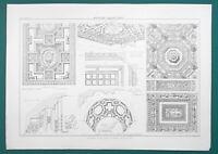 ARCHITECTURE Renaissance Ceilings Italy - 1858 Litho Print