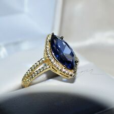 7 CARAT PREMIUM AAA TANZANITE & 76 FLAWLESS DIAMONDS GYPSY 14K YELLOW GOLD FILL