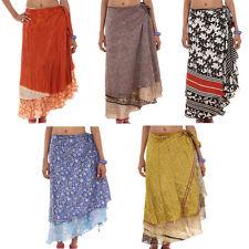 5 Vintage 2 Layer Silk Sari Magic Wrap Around Skirts Dress Beach Wear Sarong