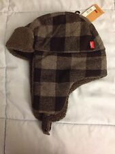 New Men's Levi's Buffalo Plaid Wool-Blend Trapper Hat - Size Small/Med