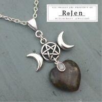 Labradorite Heart & Rainbow Moonstone Triple Moon Pentagram Pendant Pagan Wicca