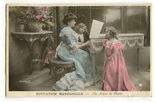 c 1907 Chldren Child  Cute Music SINGING LESSON Little Girl cute photo postcard