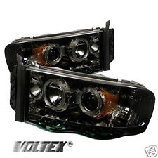 2002-2005 DODGE RAM 1500 2500 3500 HALO LED PROJECTOR HEADLIGHTS LIGHTBAR SMOKE