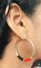 18K Gold Filled Red Black Enamel Yellow Hoop Earrings / Aretes - ER5664