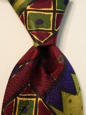 CLASSICO by ALLURE Men's Silk Necktie ITALY Designer Geometric Green/Purple GUC