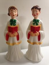 "31"" Christmas Plastic Blow Mold Choir Boy and Girl Outdoor Decoration Set 2 NEW"