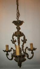 antico raro lampadario lampione bronzo dorato 3 luci per ingresso studio negozio
