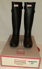 Hunter Womens Refined Back Adjustable Tall w/Ankle Strap Gloss Black Boots 7 US