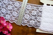 Nylon Rayon WHITE Floral Edge Lace 5 Metre Length Extra Wide 135mm Flt1 Tr182