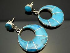 Vintage Mexican Blue Turquoise Sterling Silver Handmade Go-Go Post Earrings