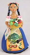 Lupita Najaco Figurine Doll Ceramic Mexican Folk Art Vegetables Collectible Blue