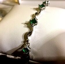 "GB Green emerald adjustable 7"" silver / white gold filled bracelet BOXED Plum UK"