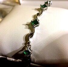 "GB Green emerald adjustable 7"" silver / white gold filled bracelet BOXED Plum UK"