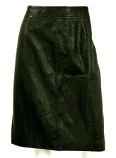 DIOR Licorice Black Wrinkled Lambskin Leather Pencil Skirt 44