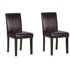 Set of 2 Dining Chair Faux Leather Backrest Kitchen Room With Solid Wooden Legs
