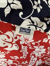 DEAN MILLER NAVY AND RED FLORAL HIBISCUS TWIN DUVET COVER