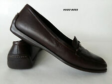 HUGO BOSS  Shoes Slippers Brown Leather Moccasins Loafers EU 39