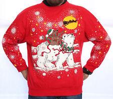 * VINTAGE ANIME BEAR ON BEAR UGLY CHRISTMAS SWEATER SWEATSHIRT LG/MEN WMN/XL