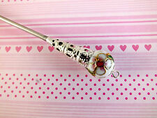 JAPANESE WHITE CLOISONNE HAIR CHOPSTICK STICK PIN CHINESE WEDDING FANCY PARTY