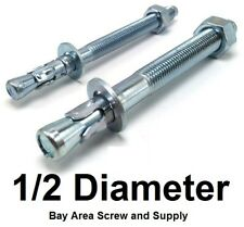 """(500) Concrete Wedge Anchor Bolts 1/2 x 2-3/4"""" Zinc with Nuts Washers Bulk"""