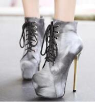 Women's Slim High Heels Lace Up Platform Ankle Boots Party Stilettos Shoes Size